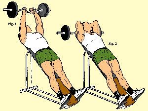 Incline Close Grip Easy Curl Bar Triceps Curl
