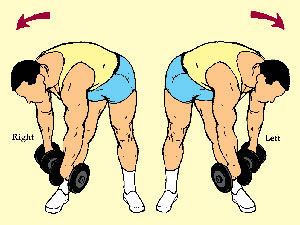 Alternated Twisting Dumbbell Bend to Opposite Foot